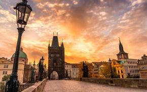 Картинка Karlův most, архитектура, город, Прага, Чехия, Prague, осень, облака, Czech Republic, мост, Praha, Карлов мост, ...