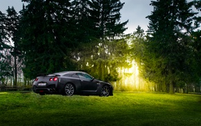 Картинка GTR, Japan, Nissan, Car, Black, Sun, Matte, R35, Sport, Summer, Forest, Rear, Farm