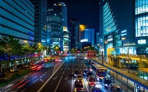 Обои город, улица, Япония, освещение, трафик, небоскрёбы, мегаполис, Osaka, Осака, авеню, ночная иллюминация