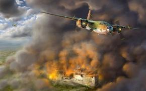 Картинка aviation, ww2, painting, airplane, art, bomber, war, Martin B-26 Marauder