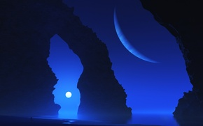 Обои maya, море, digital, скала, арка, планета
