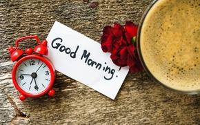 Картинка цветы, время, доски, часы, кофе, утро, будильник, чашка, записка, гвоздики