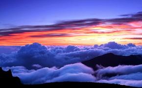 Картинка облака, горы, вершина, зарево