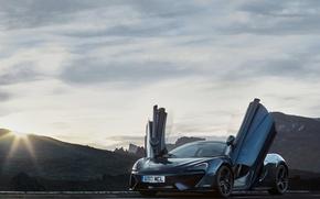 Картинка авто, солнце, свет, McLaren, двери, суперкар, передок, 570GT