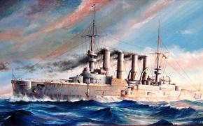 Картинка море, рисунок, арт, WW1, броненосный крейсер, SMS Scharnhorst, германского императорского флота, художник М.Гончаров, «Шарнхорст»
