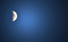 Картинка небо, синий, луна, серебряный