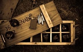 Картинка кольцо, деревянный, ящик, патроны, гранаты, запал