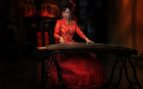 Картинка стиль, инструмент, восточная девушка