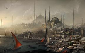 Картинка город, порт, assassins creed, Revelations