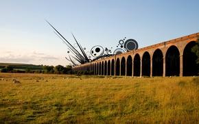 Обои поле, пейзаж, мост, овцы