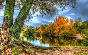 Обои HDR, река, деревья, берег, осень, лес, листья