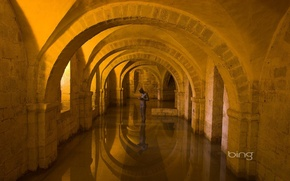 Картинка вода, свет, арка, скульптура, архитектура, помещение, аркада