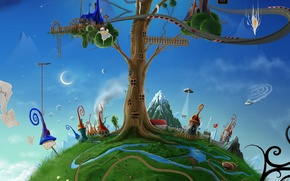 Обои david fuhrer, дерево, домики, месяц, лесенка, нло
