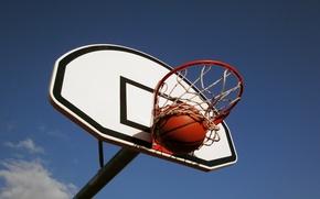 Картинка небо, мяч, кольцо, Баскетбол, щит