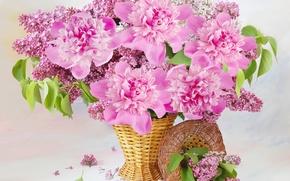 Обои корзина, цветы, пионы, сирень