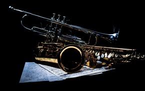 Картинка ноты, музыка, труба, саксофон