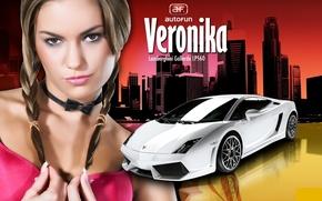 Картинка sexy, Veronika Fasterova, brunette, lamborghini gallardo lp560