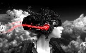 Картинка девушка, наушники, звук, шлем