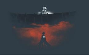 Картинка стена, титан, Shingeki no Kyojin, Eren Yeager, Вторжение гигантов, кровавый туман