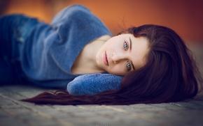 Картинка взгляд, девушка, лежит, David Mas