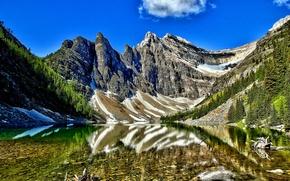 Картинка небо, снег, деревья, горы, озеро, Banff National Park, Alberta, Canada, канада, Lake Agnes