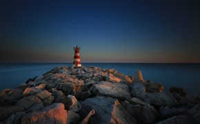 Картинка море, камни, маяк, Португалия, Faro, волнорез, Vilamoura