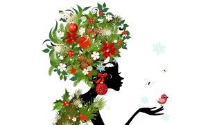 Картинка цветы, flowers, buds, абстракция, butterflies, шишки, girl, птицы, abstraction, девушка, бабочки, birds