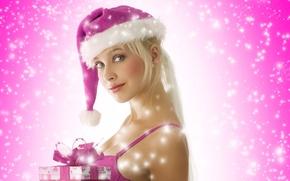 Картинка блондинка, подарки, снегурка