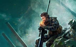 Картинка Snake, art, Metal Gear Solid, Naked Snake, Big Boss, Metal Gear Solid V: The Phantom …
