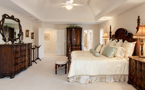 Картинка дизайн, комната, кровать, интерьер, зеркало, потолок, спальня