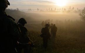 Картинка туман, солдаты, Canadian Army