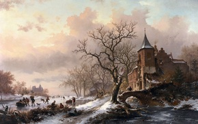 Картинка картина, живопись, painting, Castle in a Winter Landscape and Skaters on a Fozen River, 1855, ...