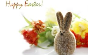 Картинка цветы, праздник, заяц, размытость, Пасха, декоративный