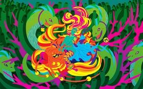 Картинка змеи, девушка, водоросли, рисунок, вектор, рыба
