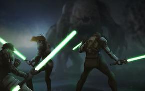 Картинка монстр, Star Wars, рыцари, джедаи, световые мечи