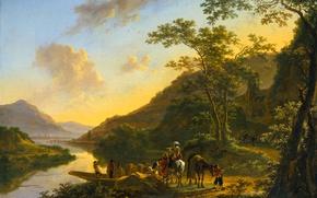 Картинка горы, река, картина, Ян Бот, Итальянский Пейзаж с Паромной Переправой