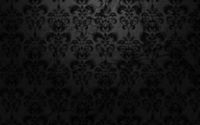 Обои узор, чёрный, текстура, фон