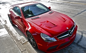 Картинка красный, тюнинг, Mercedes, Benz, спорткар, Black Series, SL65