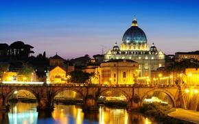 Картинка город, вечер, освещение, Рим, Italy, Rome, Ватикан, собор Святого Петра, St. Peter's Basilica, St. Angelo ...