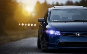 Картинка солнце, закат, синий, Honda, блик, хонда, blue, front, сивик, Sedan, Civic