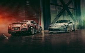 Картинка апокалипсис, зомби, Nissan, GT-R, front, rear, 370Z, apocalypse, Vossen Wheels, zomby