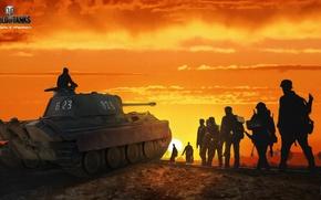 Обои Nikita Bolyakov, арт, зарево, солдаты, Пантера, средний, немецкий, World of Tanks, рисунок, танк, солнце, небо, ...