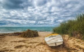 Картинка песок, пляж, океан, лодка, hdr, beach, ocean, boat