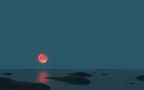 Картинка море, небо, ночь, камни, луна, горизонт, панорама