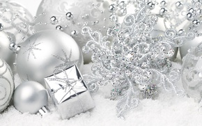 Картинка зима, шарики, шары, узор, игрушки, Новый Год, Рождество, белые, Christmas, праздники, New Year, серебристые, елочные