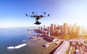 Картинка city, technology, drone, sensors