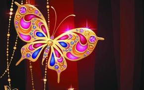 Картинка бабочка, драгоценности, gold, design, butterfly, luxury, sparkle, jewelry, diamonds, jem