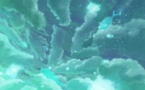 Картинка небо, облака, рыбы