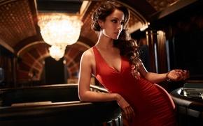 Картинка Skyfall, Berenice Marlohe, James Bond, актриса, Беренис Марло, вырез, красное, фильм, декольте, брюнетка, платье, девушка, ...