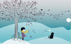 Картинка дерево, собака, девочка